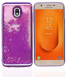 Samsung Galaxy J7 Star/Refine/(2018) MM Electroplated Water Glitter Case With Stars Purple