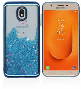 Samsung Galaxy J7 Star/Refine/ (2018) MM Electroplated Water Glitter Case With Stars Blue