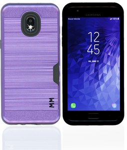 Samsung Galaxy J3(2018 )MM Slim Dura Case Metal Finish With Card Holder Purple
