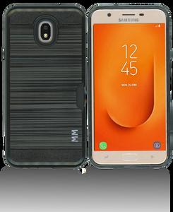 Samsung Galaxy J7 Star/Refine/(2018 )MM Slim Dura Case Metal Finish With Card Holder Black