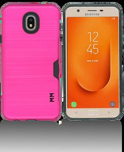 Samsung Galaxy J7 Star/Refine/(2018 )MM Slim Dura Case Metal Finish With Card Holder Hot Pink
