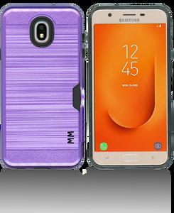 Samsung Galaxy J7 Star/Refine/(2018 )MM Slim Dura Case Metal Finish With Card Holder Purple