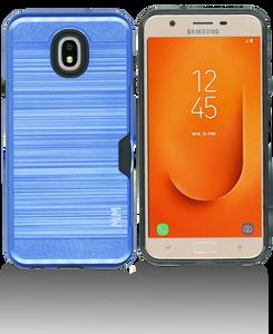 Samsung Galaxy J7 Star/Refine/(2018 )MM Slim Dura Case Metal Finish With Card Holder Blue