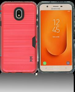 Samsung Galaxy J7 Star/Refine/(2018 )MM Slim Dura Case Metal Finish With Card Holder Red