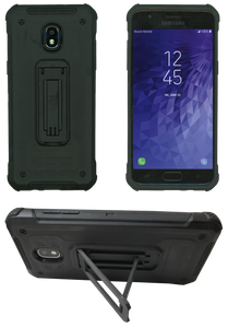 Samasung Galaxy J3(2018) MM Opal Kickstand Case Black(Tempered Glass Included)