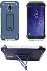 Samasung Galaxy J3(2018)  MM Opal Kickstand Case Navy(Tempered Glass Included)