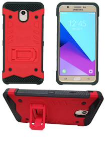 Samasung Galaxy J7 Star/Refine/(2018) MM Opal Kickstand Case Red(Tempered Glass Included)