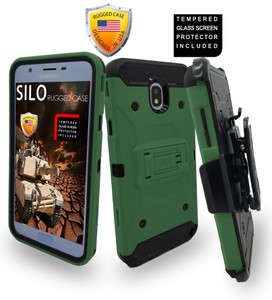 Samsung Galaxy J7 Star/Refine/(2018) MM Silo Rugged Case Army Green (Tempered Glass Included)