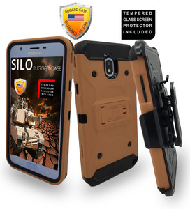 Samsung Galaxy J7 Star/Refine/(2018) MM Silo Rugged Case Rose Gold (Tempered Glass Included)
