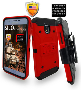 Samsung Galaxy J7 Star/Refine/(2018) MM Silo Rugged Case Red(Tempered Glass Included)