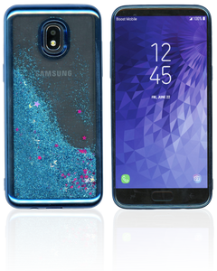 Samsung Galaxy J3 (2018) MM Electroplated Water Glitter Case With Stars Blue