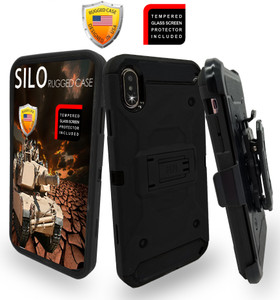 iPhone XS MAX MM Silo Rugged Case Black(Full Covered Tempered Glass Included)