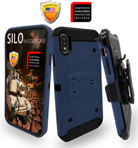 iPhone XS MAX MM Silo Rugged Case Navy(Full Covered Tempered Glass Included)