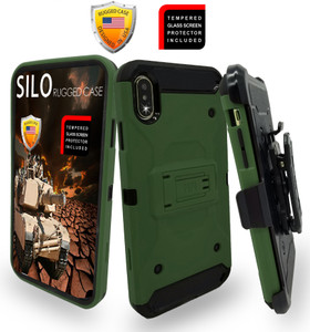 iPhone XS MAX MM Silo Rugged Case Army Green(Full Covered Tempered Glass Included)