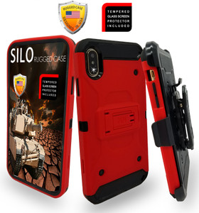 iPhone XS MAX MM Silo Rugged Case Red(Full Covered Tempered Glass Included)