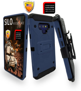 Samsung Galaxy Note 9 MM Silo Rugged Case Navy(Curved Tempered Glass Included)