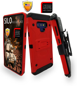 Samsung Galaxy Note 9 MM Silo Rugged Case Red(Curved tempered glass included)