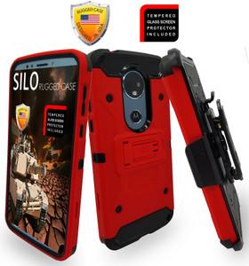 Motorola E5 Plus /E5 Supra MM Silo Rugged Case Red
