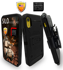 iPhone XR MM Silo Rugged Case Black(Full Covered Tempered Glass Included)
