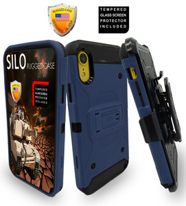 iPhone XR MM Silo Rugged Case Navy(Full Covered Tempered Glass Included)
