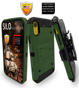 iPhone XR MM Silo Rugged Case Army Green(Full Covered Tempered Glass Included)