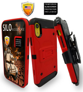 iPhone XR MM Silo Rugged Case Red(Full Covered Tempered Glass Included)