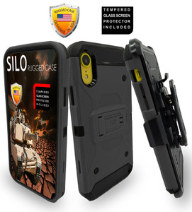 iPhone XR MM Silo Rugged Case Dark Grey(Full Covered Tempered Glass Included)