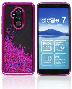 Alcatel 7 Folio MM Electroplated Water Glitter Hot Pink