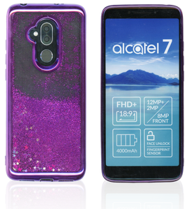 Alcatel 7 Folio MM Electroplated Water Glitter Purple