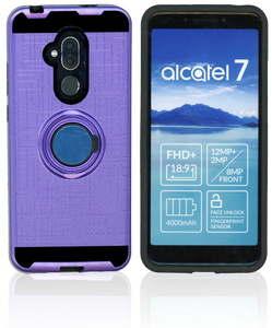 Alcatel 7 Folio MM Metal Ring Stand Case Purple