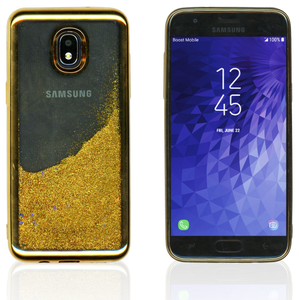 Samsung Galaxy J3 (2018) MM Electroplated Water Glitter Case With Stars Gold