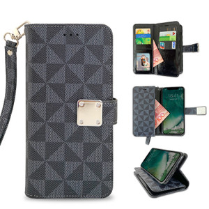 Motorola E5 Play MM Portfolio Case Grey Pattern