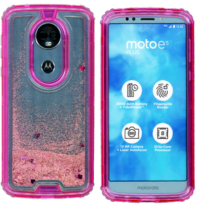 Motorola E5 Plus/E5 Supra MM Water Glitter Hybrid Hot Pink