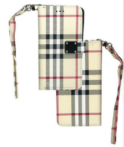 iPhone XS Max MM Portfolio Wallet Plaid Beige