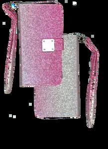 iPhone XS Max MM Portfolio Wallet Glitter Hot Pink