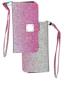 Samsung Galaxy J2 Core/J2 Pure MM Portfolio Wallet Glitter Hot Pink
