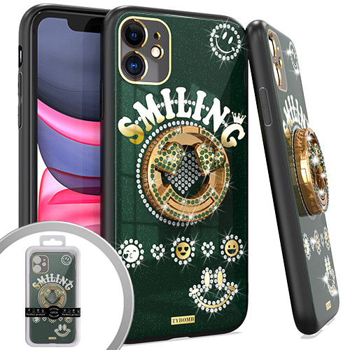 iPhone 12/12 Pro MM Bling Ring Case Smiling Green