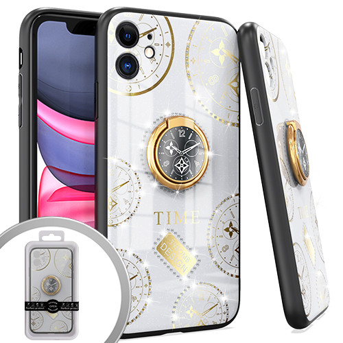 iPhone 12/12 Pro MM Bling Ring Case Time Design White