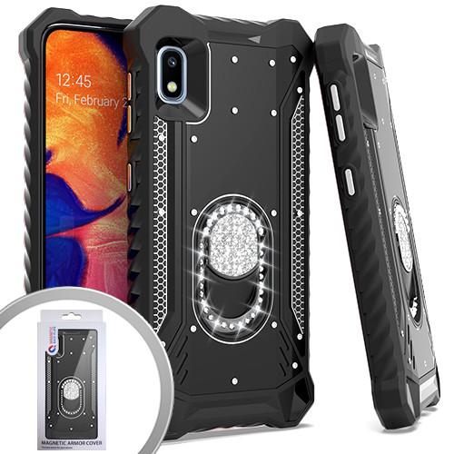 Samsung A10E MM Magnetic Rugged Bling Kickstand Black