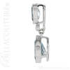(NEW) BELLA COUTURE BALINA Pave Diamond Genuine Aquamarine Gemstone 14K White Gold Dangle Drop Pendant