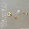 SOLD! - (VINTAGE) Rare Gorgeous Genuine 6.5MM Opal Gemstone 14K Yellow Gold Solitaire Earrings