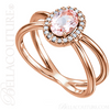(NEW) BELLA COUTURE MILAN Fine Diamond Genuine Rose Morganite Oval Gemstone 14K Rose Gold Criss Cross Ring (1/10 CT. TW.)