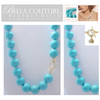 "(NEW) BELLA COUTURE (LIMITED EDITION) STUNNING TURQUOISE 14K GOLD NECKLACE VTG VICTORIAN PERSIAN HUE 12MM (20"" Inches in Length)"