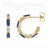 (NEW) BELLA COUTURE® BAGUETTE GENUINE NATURAL BLUE SAPPHIRE 14K YELLOW GOLD ROUND GEMSTONE DIAMOND HOOP EARRINGS .50 CTW (1/2 CT. TW.)