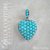 SOLD! - (ANTIQUE) Gorgeous Rare Georgian Victorian Puffy Heart Sterling Silver 18K 18CT Yellow Gold Pave Cabochon Turquoise Charm Pendant Locket c.1700 - 1840