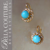 SOLD! - (ANTIQUE) Rare Gorgeous Victorian Persian Turquoise & Seed Pearl 18K Yellow Gold Filigree Earrings