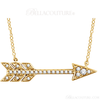 """(NEW) Bella Couture CARA Gorgeous Brilliant Round 1/10CT Diamond 14k White Gold Fancy Arrow Pendant Necklace (Adjustable 18"""", 17"""", 16"""" Inches in Length)"""