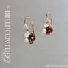 SOLD! - (ANTIQUE) Gorgeous Rare French Floral Flower Figural Etched Genuine Natural Blue Sapphire Gemstone Victorian 18K 18Ct Solid Rose Gold Earrings - Circa 1838 - Fine Jewelry (One of a Kind)