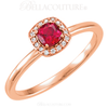 (NEW) BELLA COUTURE Le ROSA Fine Gorgeous Ruby Pave' Diamond 14k Rose Gold Ring