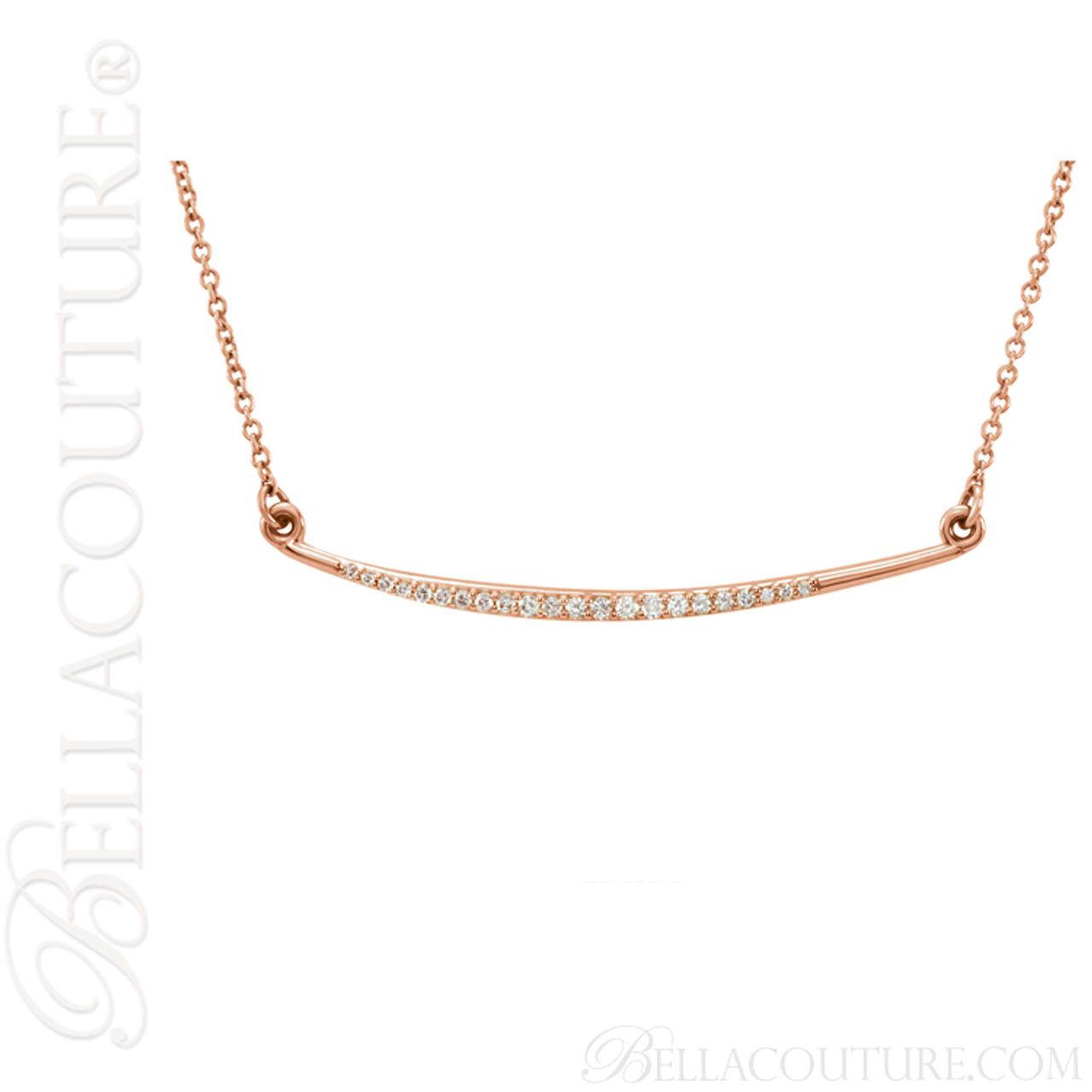 89254cf1c7594 (NEW) BELLA COUTURE Fine Delicate Diamond Curved Bar 14K Rose Gold Pendant  Necklace (16